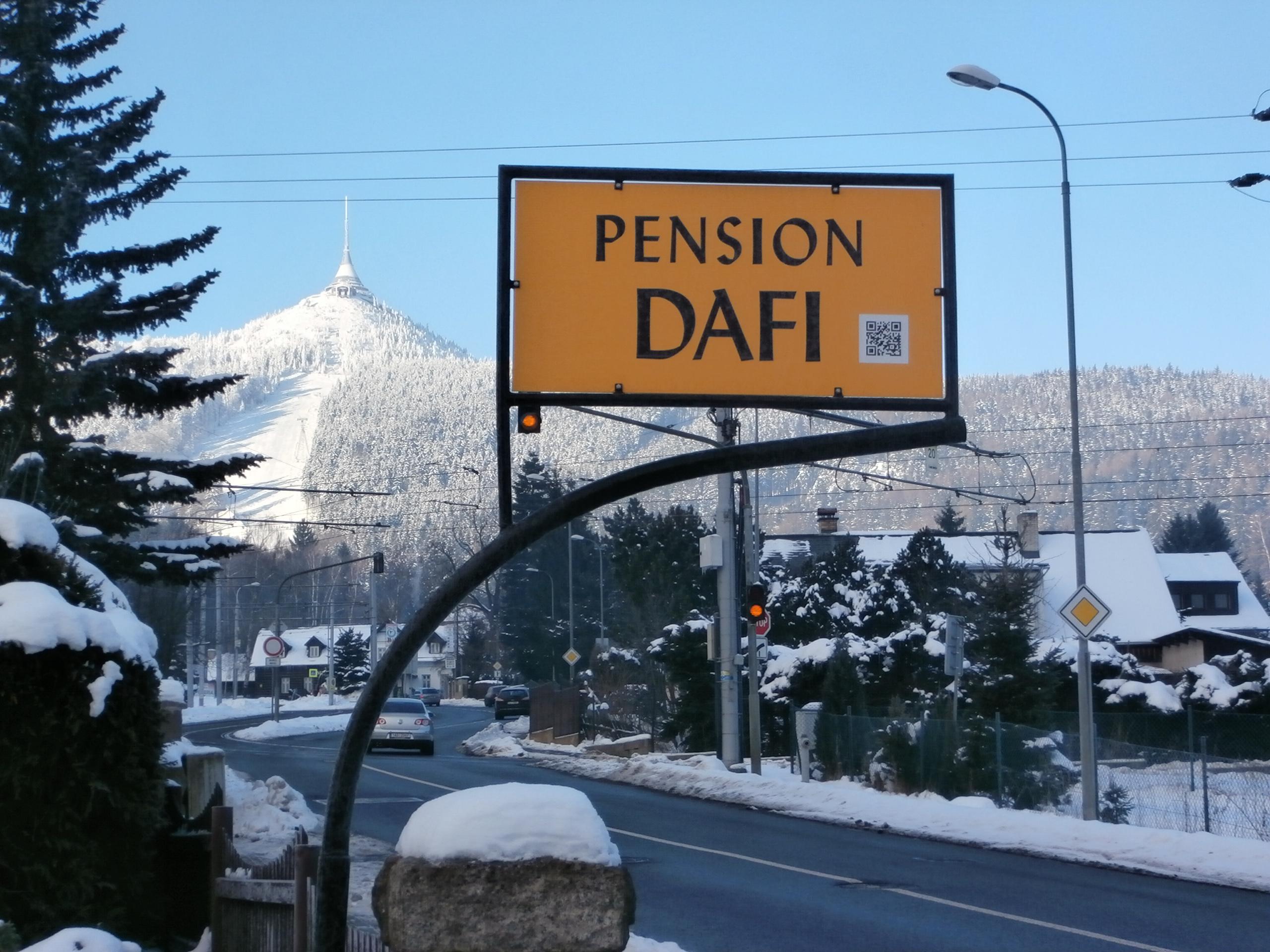 Pohled od pensionu